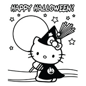 kleurplaten halloween hello kitty