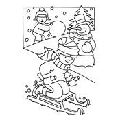 Kleurplaten Winter Slee.Kleurplaat Winter Vol Sneeuwpret Seizoen 3218