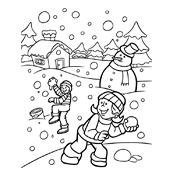 kleurplaat winter vol sneeuwpret seizoen 3252